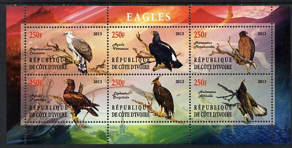 Ivory Coast 2013 Eagles #1 perf sheetlet containing 6 values unmounted mint