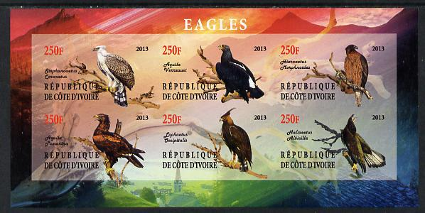 Ivory Coast 2013 Eagles #1 imperf sheetlet containing 6 values unmounted mint