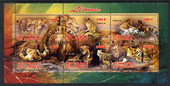 Djibouti 2013 Lions perf sheetlet containing 6 values fine cto used