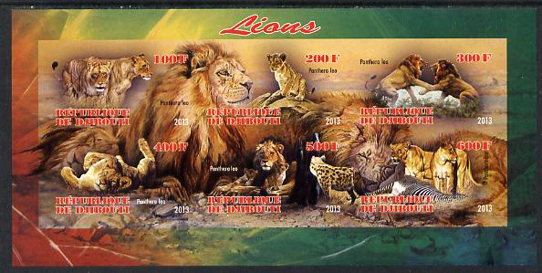Djibouti 2013 Lions imperf sheetlet containing 6 values unmounted mint