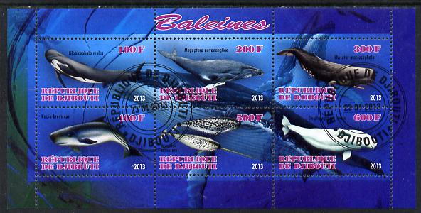 Djibouti 2013 Whales perf sheetlet containing 6 values fine cto used
