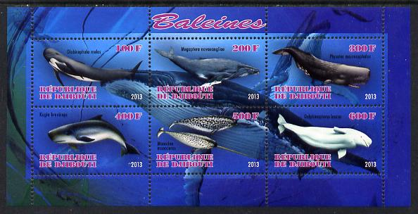 Djibouti 2013 Whales perf sheetlet containing 6 values unmounted mint