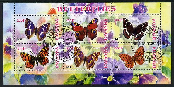 Rwanda 2013 Butterflies #1 perf sheetlet containing 6 values fine cto used