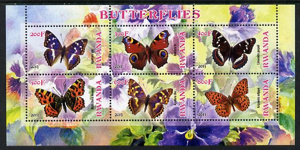 Rwanda 2013 Butterflies #1 perf sheetlet containing 6 values unmounted mint