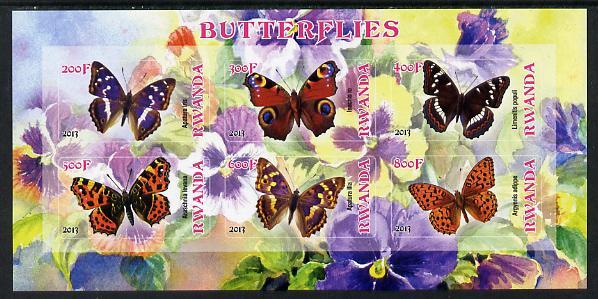 Rwanda 2013 Butterflies #1 imperf sheetlet containing 6 values unmounted mint