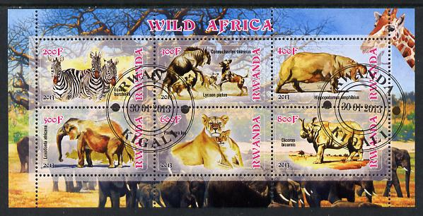 Rwanda 2013 Wild Africa perf sheetlet containing 6 values fine cto used
