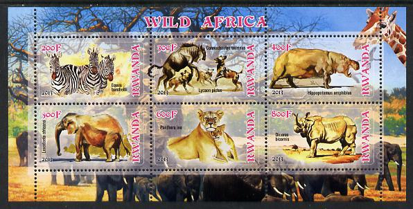 Rwanda 2013 Wild Africa perf sheetlet containing 6 values unmounted mint