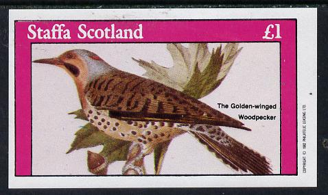Staffa 1982 Golden Winged Woodpecker imperf souvenir sheet (�1 value) unmounted mint, stamps on birds    woodpecker
