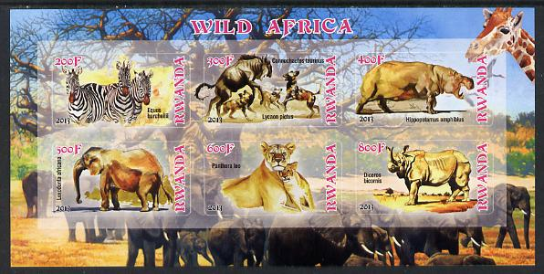 Rwanda 2013 Wild Africa imperf sheetlet containing 6 values unmounted mint