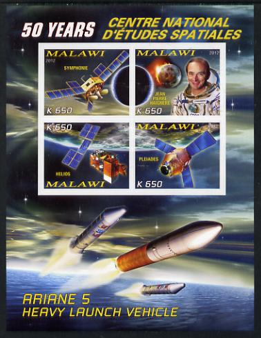 Malawi 2012 Space - 50th Anniversary of Centre for Space Studies #1 imperf sheetlet containing 4 values unmounted mint