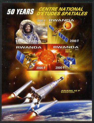Rwanda 2012 Space - 50th Anniversary of Centre for Space Studies #1 imperf sheetlet containing 4 values unmounted mint