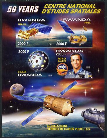 Rwanda 2012 Space - 50th Anniversary of Centre for Space Studies #2 imperf sheetlet containing 4 values unmounted mint
