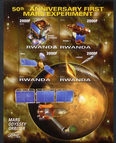 Rwanda 2012 Space - 50th Anniversary of First Mars Experiment #1 perf sheetlet containing 4 values unmounted mint