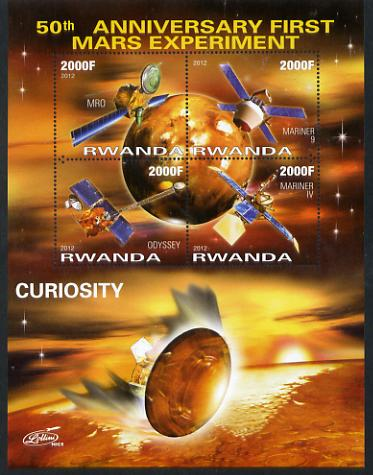 Rwanda 2012 Space - 50th Anniversary of First Mars Experiment #2 perf sheetlet containing 4 values unmounted mint