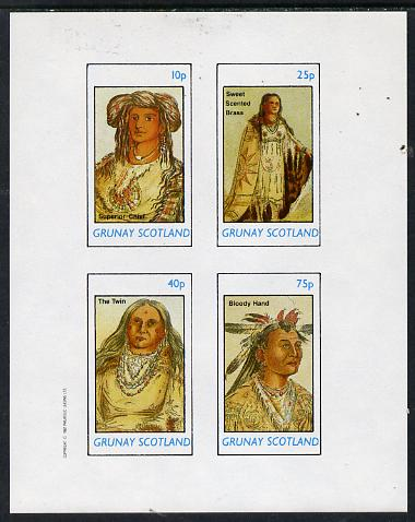 Grunay 1982 N American Indians imperf set of 4 values unmounted mint