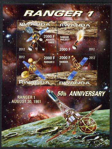 Rwanda 2012 Space - 50th Anniversary of Ranger 1 perf sheetlet containing 4 values unmounted mint