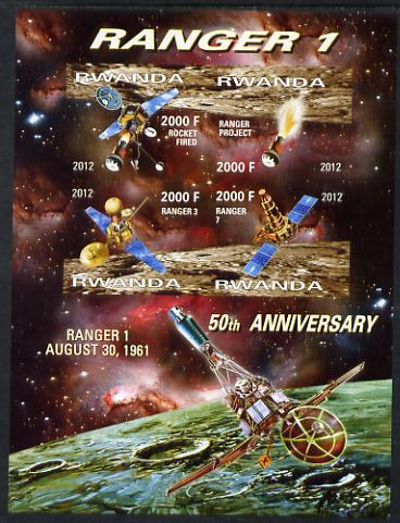 Rwanda 2012 Space - 50th Anniversary of Ranger 1 imperf sheetlet containing 4 values unmounted mint