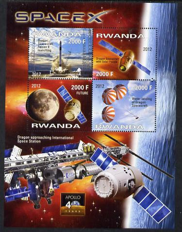 Rwanda 2012 Space - Space X Dragon Flight perf sheetlet containing 4 values unmounted mint