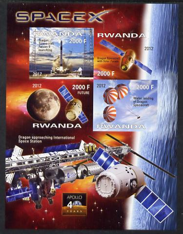 Rwanda 2012 Space - Space X Dragon Flight imperf sheetlet containing 4 values unmounted mint