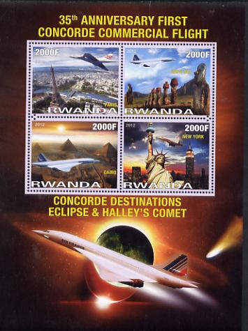 Rwanda 2012 35th Anniversary of First Concorde Flight perf sheetlet containing 4 values unmounted mint