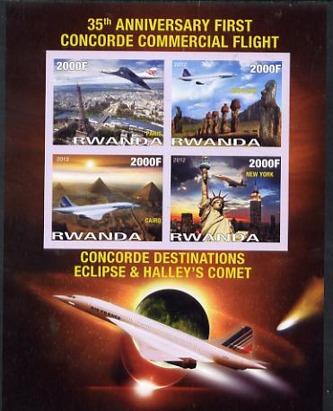 Rwanda 2012 35th Anniversary of First Concorde Flight imperf sheetlet containing 4 values unmounted mint
