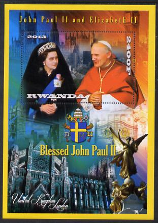 Rwanda 2013 Pope John Paul with Queen Elizabeth II perf deluxe sheet containing 1 value unmounted mint