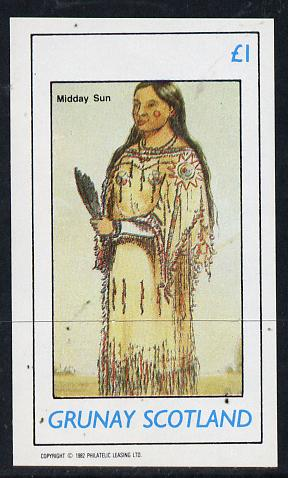 Grunay 1982 N American Indians imperf souvenir sheet unmounted mint (�1 value)