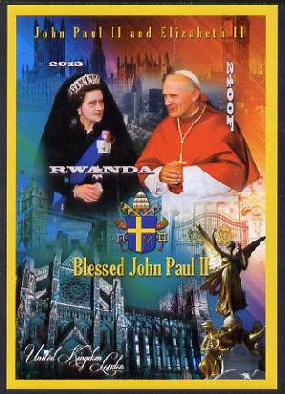 Rwanda 2013 Pope John Paul with Queen Elizabeth II imperf deluxe sheet containing 1 value unmounted mint