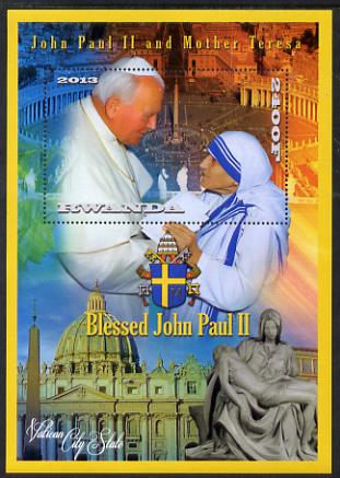 Rwanda 2013 Pope John Paul with Mother Teresa perf deluxe sheet containing 1 value unmounted mint