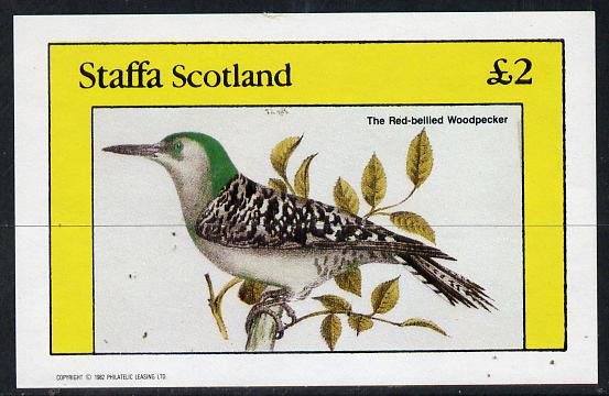 Staffa 1982 Red Bellied Woodpecker imperf deluxe sheet (�2 value) unmounted mint