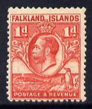 Falkland Islands 1929 Whale & Penguins 1d scarlet mounted mint SG 117
