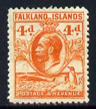 Falkland Islands 1929 Whale & Penguins 4d orange mounted mint SG 120