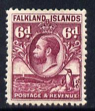 Falkland Islands 1929 Whale & Penguins 6d purple mounted mint SG 121