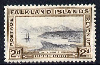 Falkland Islands 1933 Centenary 2d Port Louis mounted mint SG 130