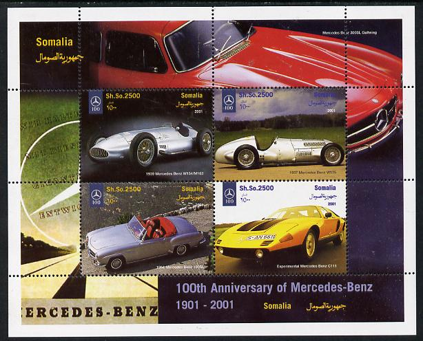 Somalia 2001 Centenary of Mercedes-Benz perf sheetlet containing 4 values unmounted mint. Note this item is privately produced and is offered purely on its thematic appeal