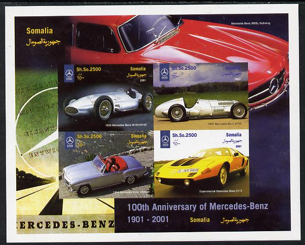 Somalia 2001 Centenary of Mercedes-Benz imperf sheetlet containing 4 values unmounted mint. Note this item is privately produced and is offered purely on its thematic appeal, it has no postal validity