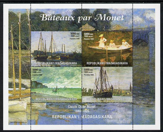 Madagascar 1999 Paintings by Monet perf sheetlet containing 4 values unmounted mint. Note this item is privately produced and is offered purely on its thematic appeal