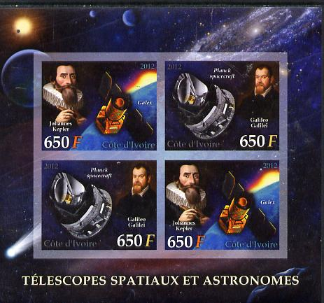 Ivory Coast 2012 Space Telescopes & Astronomers imperf sheetlet containing 4 values (2 sets of 2) unmounted mint