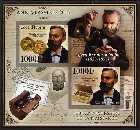 Ivory Coast 2013 Anniversaries - 180th Birth Anniversary of Alfred Nobel imperf sheetlet containing 2 values unmounted mint