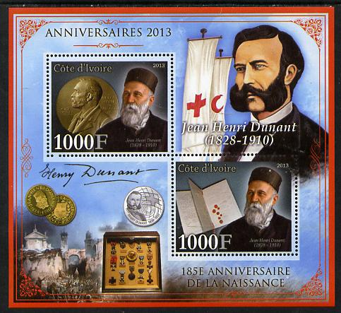 Ivory Coast 2013 Anniversaries - 185th Birth Anniversary of Henri Dunant perf sheetlet containing 2 values unmounted mint