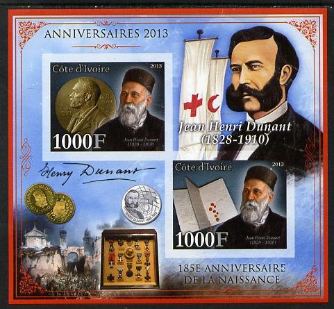 Ivory Coast 2013 Anniversaries - 185th Birth Anniversary of Henri Dunant imperf sheetlet containing 2 values unmounted mint