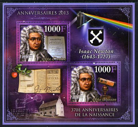 Ivory Coast 2013 Anniversaries - 370th Birth Anniversary of Isaac Newton perf sheetlet containing 2 values unmounted mint