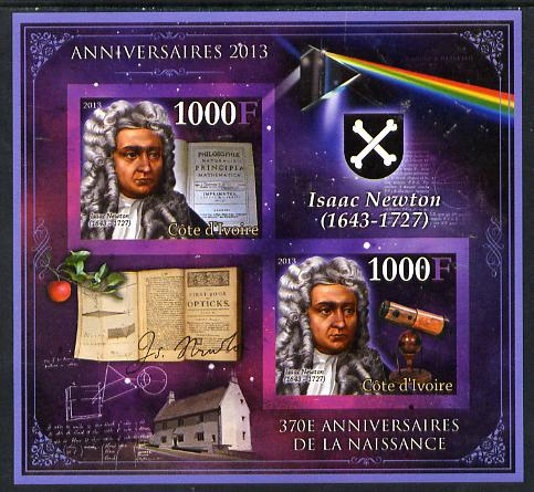 Ivory Coast 2013 Anniversaries - 370th Birth Anniversary of Isaac Newton imperf sheetlet containing 2 values unmounted mint