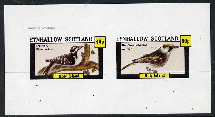 Eynhallow 1982 Birds #10 (Hairy Woodpecker & Warbler) imperf  set of 2 values (40p & 60p) unmounted mint
