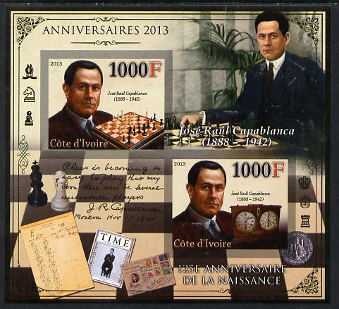 Ivory Coast 2013 Anniversaries - 125th Birth Anniversary of Jose Raul Capablanca imperf sheetlet containing 2 values unmounted mint