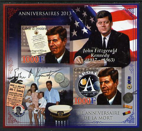 Ivory Coast 2013 Anniversaries - 50th Death Anniversary of John F Kennedy imperf sheetlet containing 2 values unmounted mint