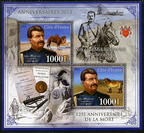 Ivory Coast 2013 Anniversaries - 125th Death Anniversary of Nikolai Przhevalsky perf sheetlet containing 2 values unmounted mint