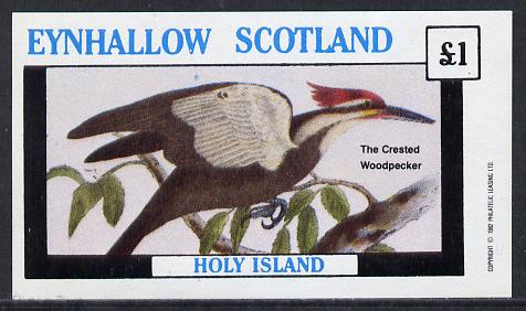 Eynhallow 1982 Crested Woodpecker imperf souvenir sheet (�1 value) unmounted mint, stamps on birds    woodpecker