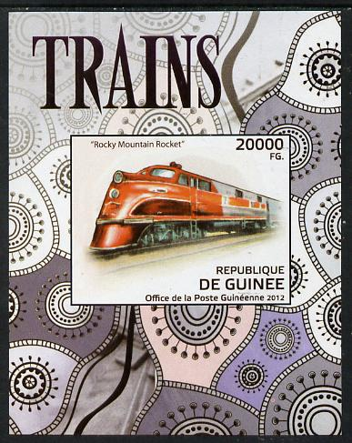 Guinea - Conakry 2012 Trains - Rocky Mountain Rocket imperf deluxe sheet unmounted mint. Note this item is privately produced and is offered purely on its thematic appeal