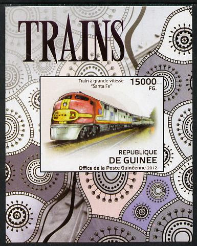 Guinea - Conakry 2012 Trains - Santa Fe imperf deluxe sheet unmounted mint. Note this item is privately produced and is offered purely on its thematic appeal